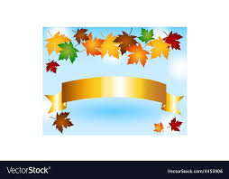 gold ribbon border maple leaves border with gold ribbon and sky vector image