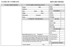repair invoice template simple auto repair work order