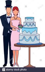 Flat Wedding Cake Designs Married Couple Standing Around The Wedding Cake Icon Flat