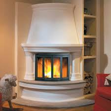 luxury village design idea for round corner fireplace