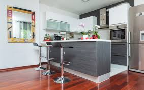 small modern kitchen design with chrome stools and grainy gray cabinets grey white kitchens r56 white