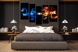 5 piece large pictures abstract blue smoke art bedroom multi panel art abstract on canvas wall art bedroom with 5 piece canvas wall art abstract blue yellow smoke photo canvas