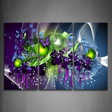 well known purple abstract wall art with 3 piece wall art painting artistic purple erfly green