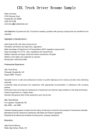 Driver Resumes Cdl Truck Driver Resume Sample Cdl Driver Resume