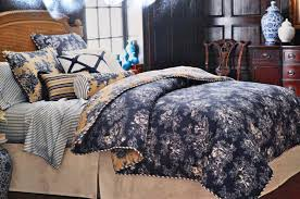 image of navy blue toile bedding