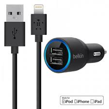 BELKIN DUAL PORT USB CAR CHARGER WITH LIGHTNING CABLE 4 FT LENGTH
