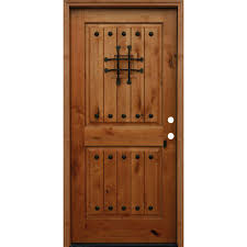 rustic 2 panel square top v grooved stained knotty alder prehung front door a42r the home depot