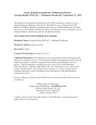 Notice of Draft Groundwater Withdrawal Permit – Georgia-Pacific WFS LLC -  Thalmann Woodyard - September 17, 2015