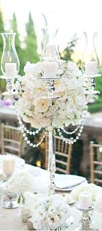 Roses, silver and crystal wedding centerpiece ~ CE