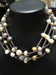 leather pearls necklaces freshwater pearls necklaces baroque multilayer magnet clasp free women jewelry multi color