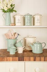 Sage Green Kitchen Accessories Woodwares Vintage Ceramic Collection In Old Cream And Old Green