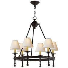 classic mini ring chandelier in bronze with natural paper shades