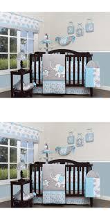 blue gray elephant 13 pcs crib bedding