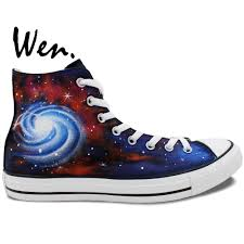 Galaxy Design Shoes Us 64 0 Wen Original Design Custom Hand Painted Shoes Galaxy Nebula Space Men Womens High Top Canvas Sneakers Christmas Gifts In Skateboarding From