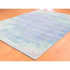 7 8 x10 silk and oxidized wool with pastel color hand knotted oriental rug