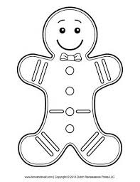 Small Picture Gingerbread Man Template Clipart Coloring Page for Kids