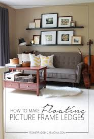 hang floating shelves with command strips diy picture frame ledge