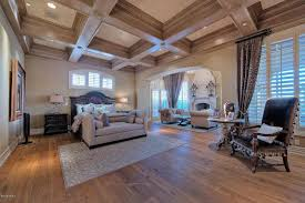 beautiful master bedroom with crawford coffered ceilings