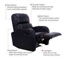 home theater furniture. Costway Manual Recliner Chair Single Sofa PU Leather Club Home Theater Furniture Black 2