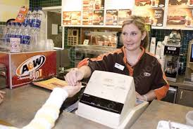 Teen Working As Cashier At A And W Fast Food Restaurant