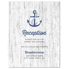 Nautical Anchor On Rustic Wood Wedding Reception Insert Card