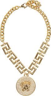 versace gold medusa greek key necklace