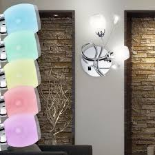 design rgb led wall spot lamp living room decor leaves flowers hall chrome glass