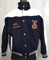 ambassadeurs atome aa by marc sport men s varsity jacket with leather sleeves made in canada w 19 1 5 kg