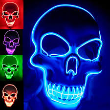 Light Up Skull Mask Halloween Mask Led Light Up Mask Costumes Mask Blue Led Glow Scary Mask With 3 Flash Modes For Halloween Glow In The Dark Party Supplies Party Favor