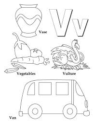 Small Picture Learning Letter V Coloring Page for Kids Bulk Color