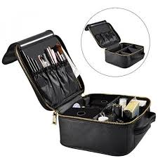 portable travel makeup bag waterproof train case cosmetic organizer kit artists storage for cosmetics