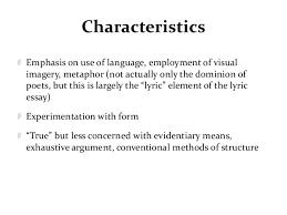 lyric essay characteristics