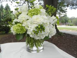 White Hydrangea, Green Hydrangea, White Roses, Green Buttons and Green  Hypericum Berries.