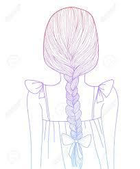 スケッチ スタイル グラデーションかわいい女の子三つ編み髪型のイラスト