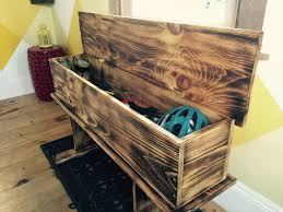 how to make a burnt wood storage bench
