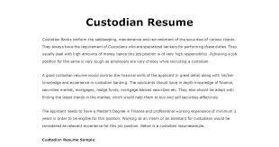 Custodian Resume Gorgeous Resume Samples Custodian Resume Custodian Resume Template Resume