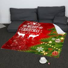 Patterned Blankets Delectable 48 Coral Fleece Christmas Tree Balls Patterned Blanket REDGREEN W