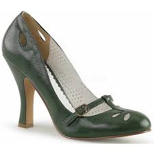 forest green smitten vintage style faux leather pump at shoeoodles shoes for women men and