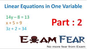 maths linear equation in 1 variable part 2 linear equation cbse class 8 mathematics viii