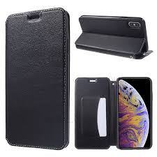 for iphone xs max 6 5 inch card holder stand auto absorbed leather case black