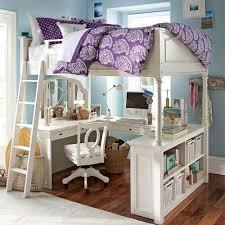 bedroom design for teenagers with bunk beds. White Chelsea Vanity Loft Bed With Teenage Bedroom Designs Also Wooden Floor Chairs Purple Pillow Design For Teenagers Bunk Beds