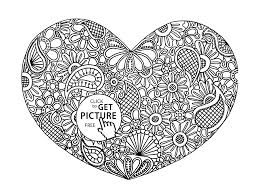 Small Picture Heart with Pattern coloring page for kids for girls coloring
