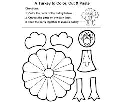 Small Picture Thanksgiving Coloring Pages Cut And Paste Out Template Turkey