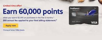 Southwest Rapid Rewards Points Chart Earn 60 000 Bonus Rapid Rewards With The Southwest Rapid