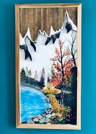 Tranh vẽ tay bằng màu acrylic kết hợp gỗ 30x60 cm - Các loại tranh khác  Hãng OEM