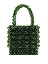 Beaded Bag Designer Antonia Emerald Crystal Embellished Bag Shrimps
