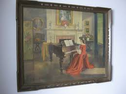 old painting woman red gown piano this painting of the victorian woman in a red