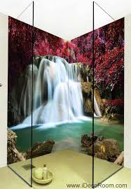 wall art for home office. 3D Wallpaper Red Maple Waterfall Wall Murals Bathroom Decals Art Print Home Office Decor For