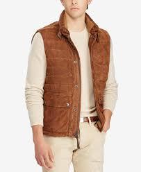 Polo Ralph Lauren Men's Quilted Suede Down Vest - Coats & Jackets ... & Polo Ralph Lauren Men's Quilted Suede Down Vest Adamdwight.com
