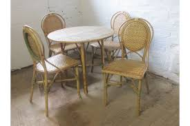 vintage style cane wicker round table four chairs patio or conservatory set vinterior